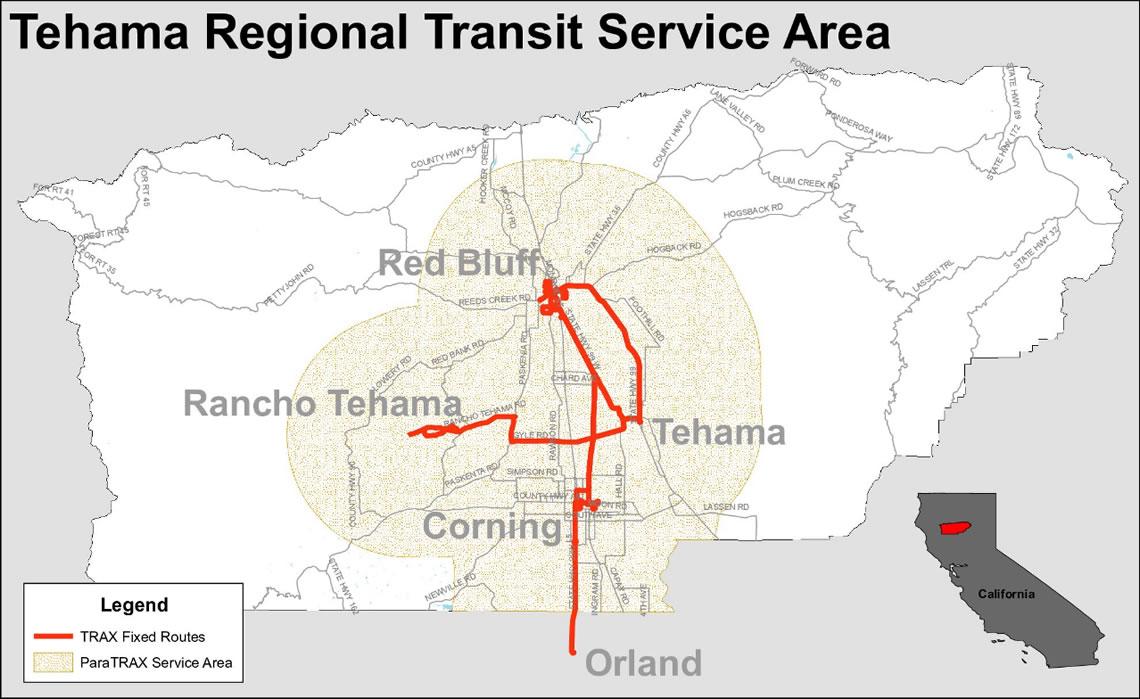 ParaTRAX Service Area Map