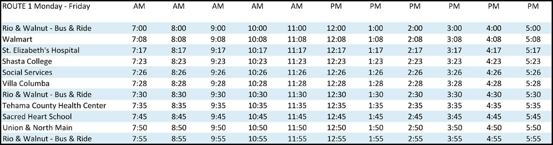 Route 1 - Schedule