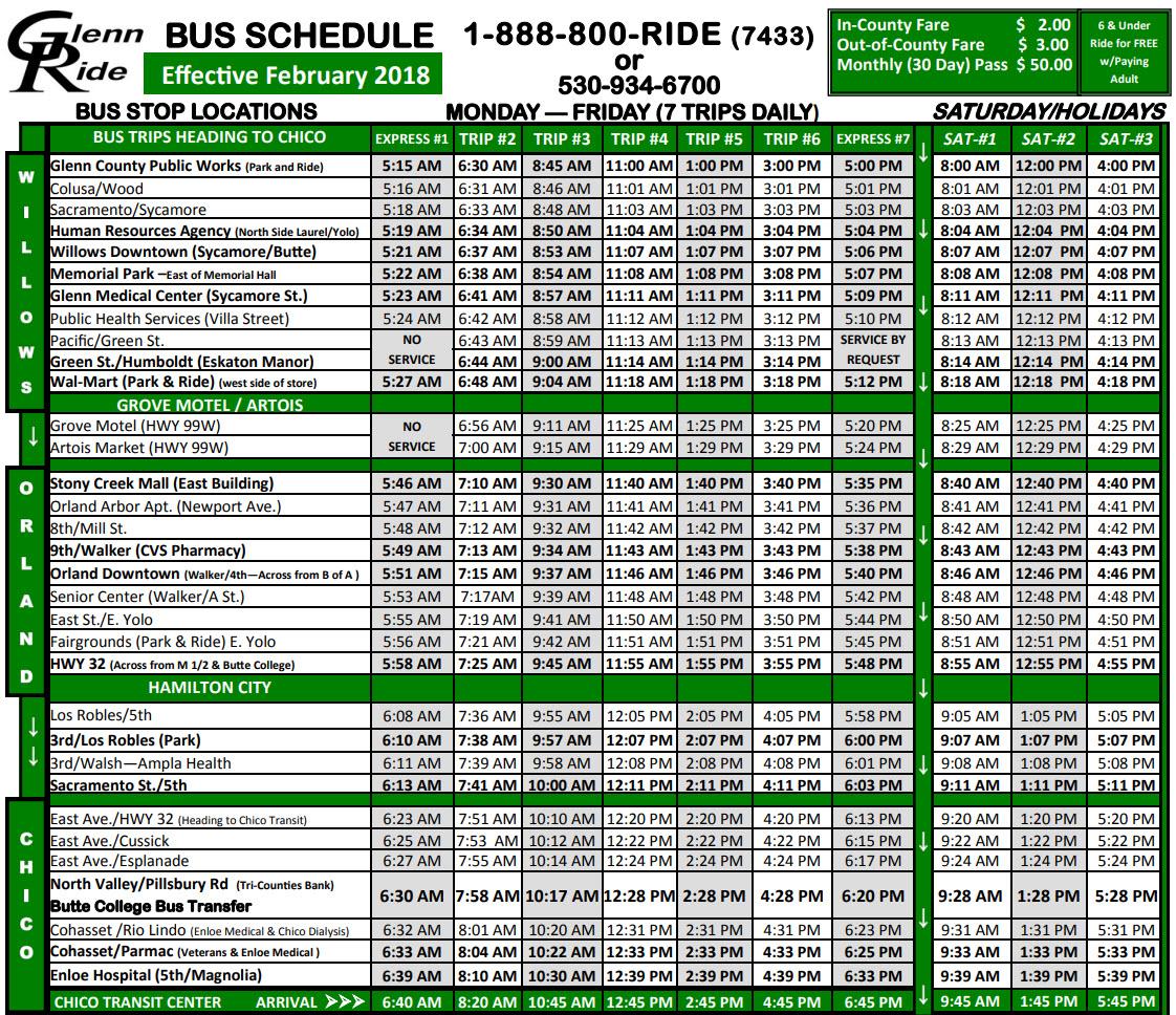 Glenn Ride Bus Schedule