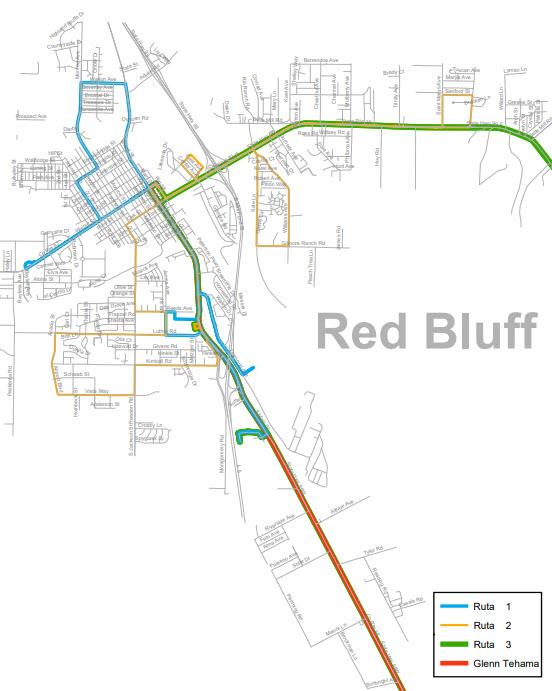 Áreas de servicio de Red Bluff
