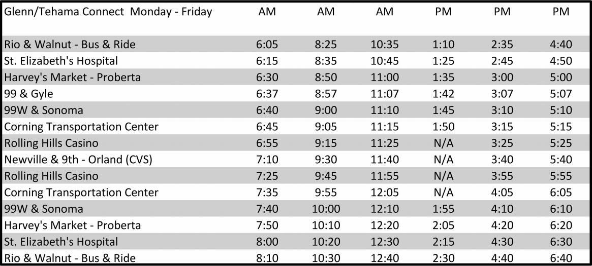 Glenn-Tehama Connection - Schedule