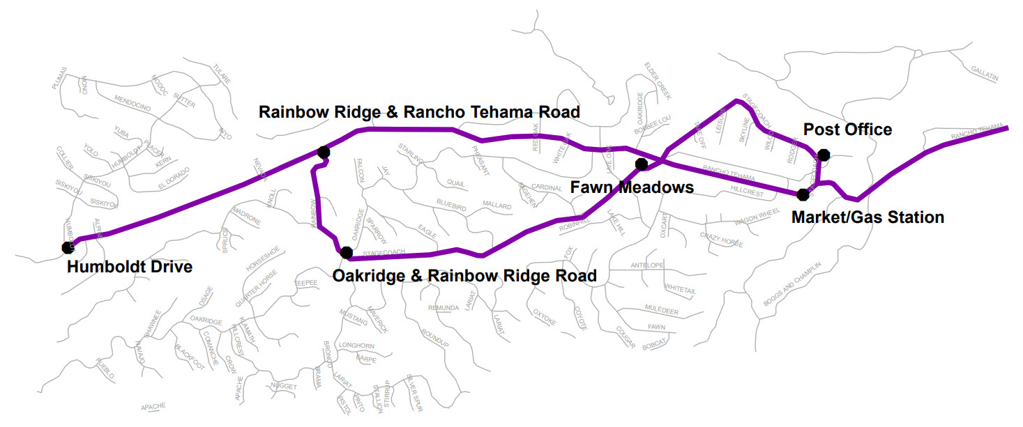 Rancho Tehama Express - Map