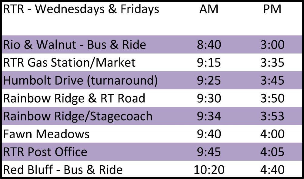 Rancho Tehama Express - Schedule
