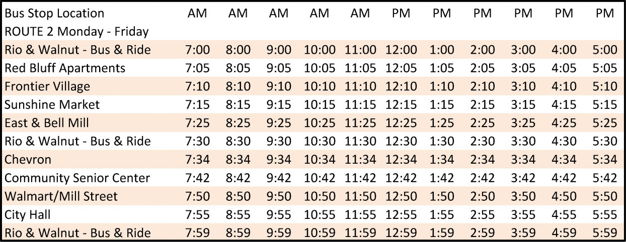Route 2 - Schedule