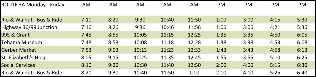 Route 3A - Schedule