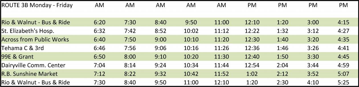 Route 3B - Schedule