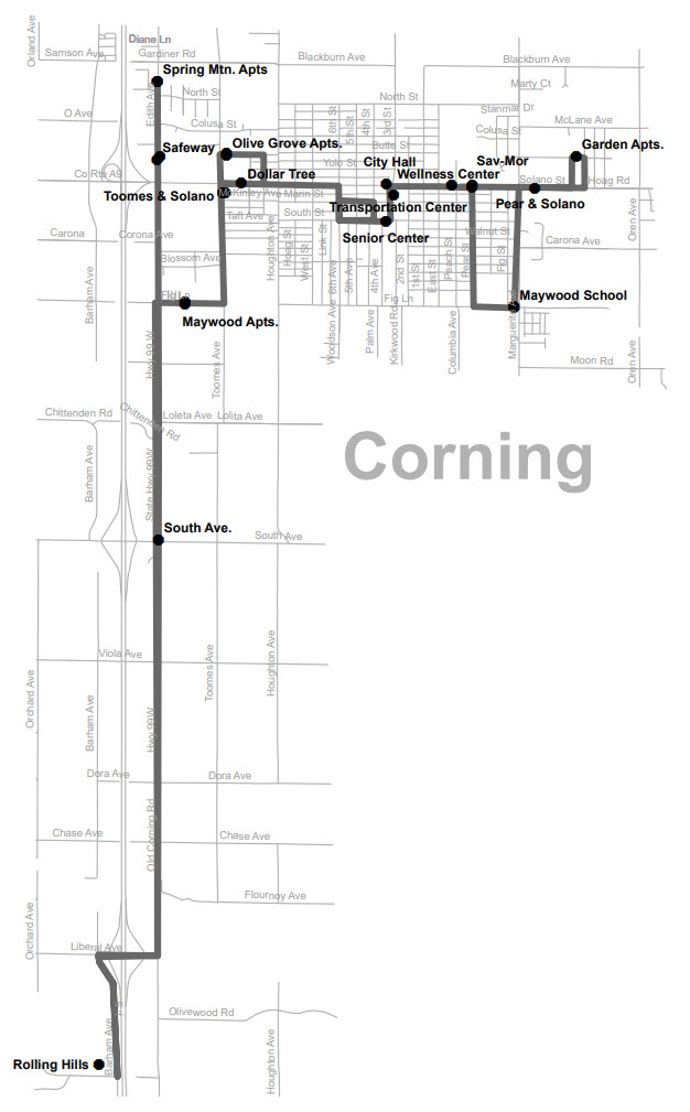 Route 5 - Corning - Map