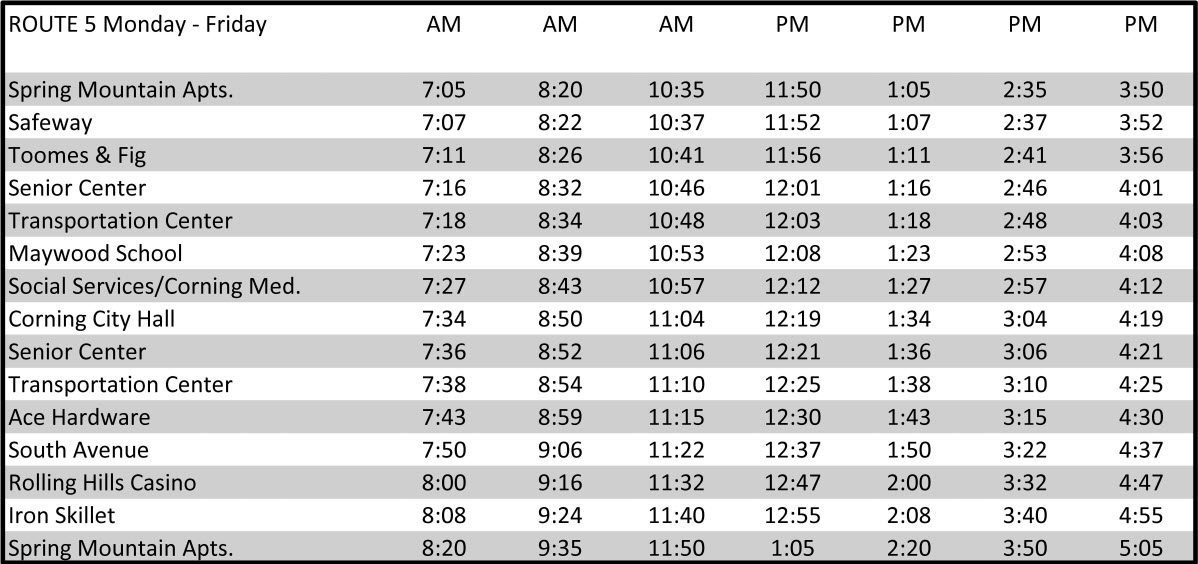 Route 5 - Corning - Schedule