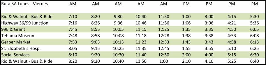 Route 3A - Calendario