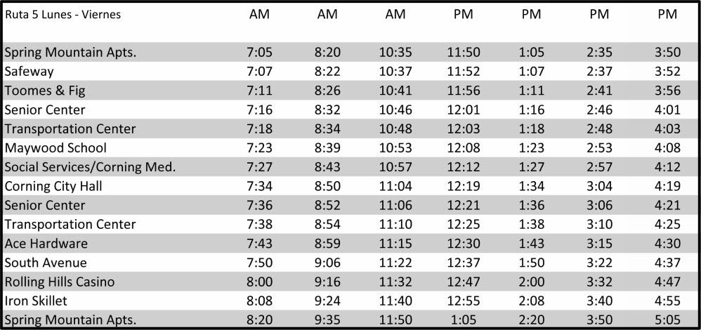 Ruta 5 - Corning - Calendario