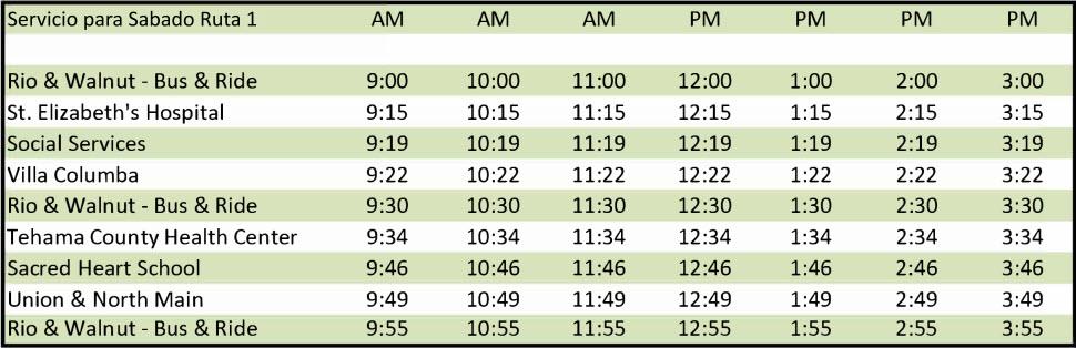 Sábado Ruta 1 - Calendario