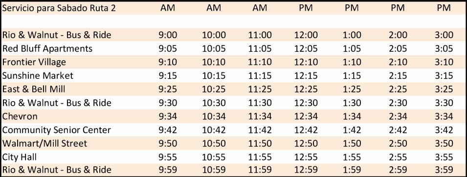 Sábado Ruta 2 - Calendario