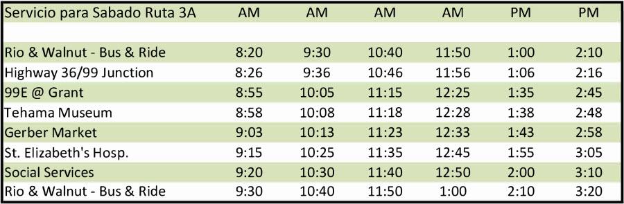 Sábado Ruta 3A - Calendario