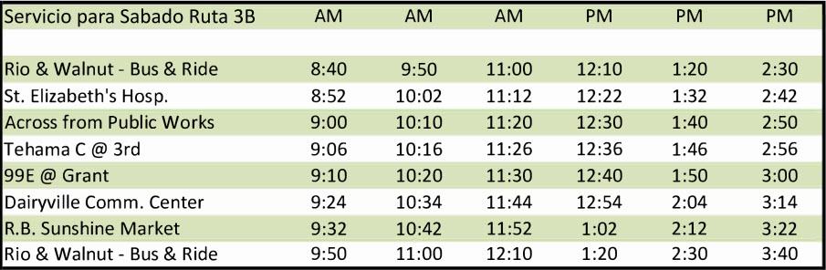 Sábado Ruta 3B - Calendario