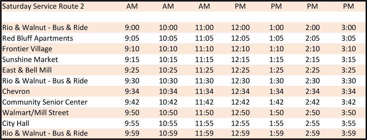 Saturday Route 2 - Schedule