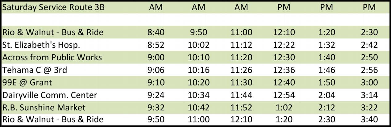 Saturday Route 3B - Schedule