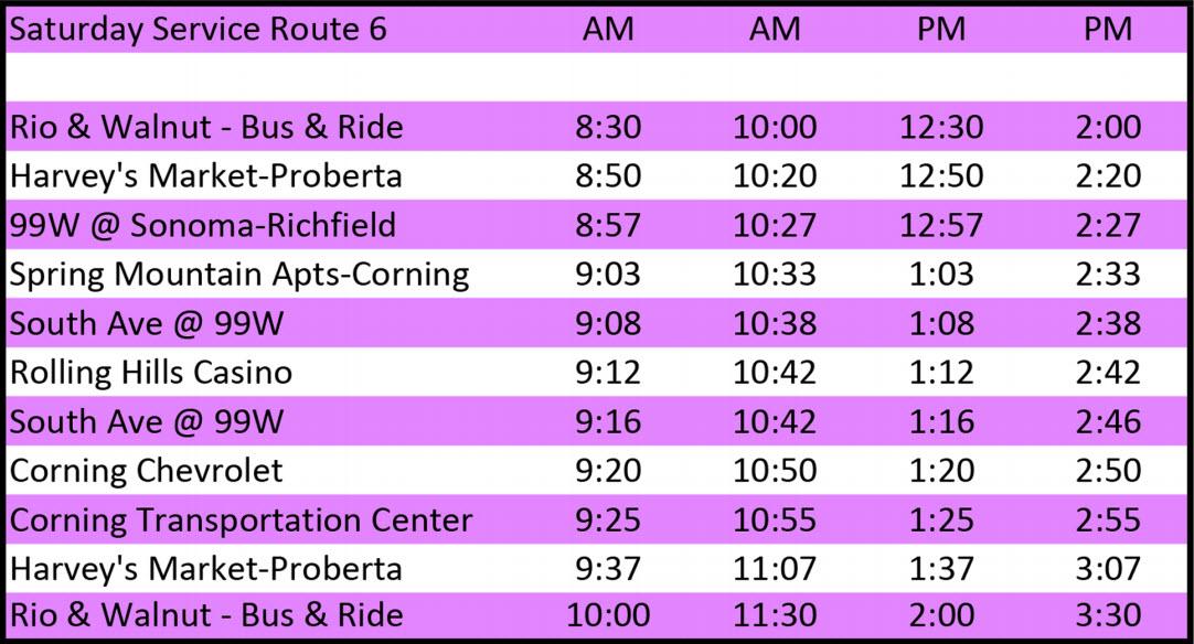Saturday Route 6 - Schedule